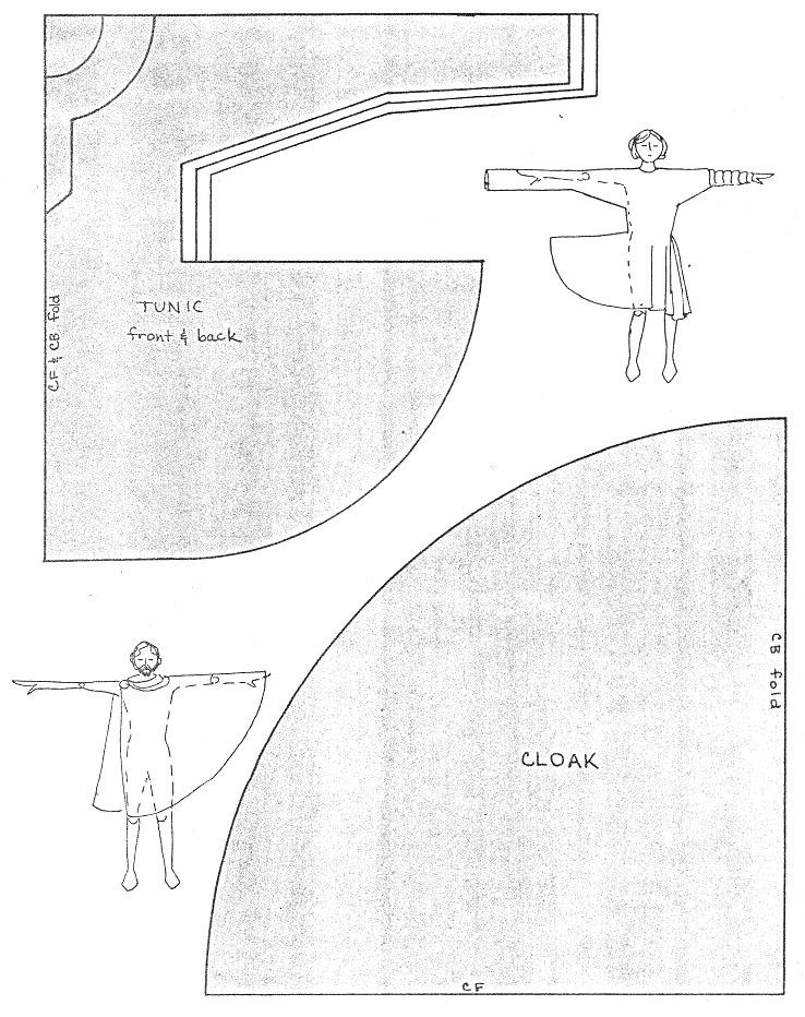 Римские рубаха и накидка - выкройки.